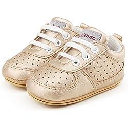 Delebao Zapatillas de Niño Zapatos para Bebé Primeros Pasos Calzado de Bebes Zapato con Cordones y Suela de Goma 6-12 Meses Oro