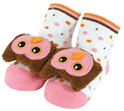 Stephan Baby Non-Skid Rattle Socks, Miss Hooty Owl, 6-12 Months