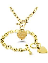 Yours Forever (Tuya Para Siempre) Chapado en Oro Acero inoxidable Corazón Grabado Encanto Pulsera y Collar