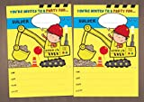 20 Mixed Boys Childrens birthday party invitations - Digger, fireman, Racing Car, Monster Truck and Tow Truck