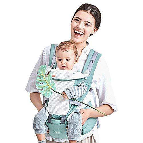 GBlife Mochila Portabebé Ergonómico Multifuncional 4 en 1 Fular Porta Bebé con Múltiples Posiciones Suave Ajustable para Niños (Verde Claro)