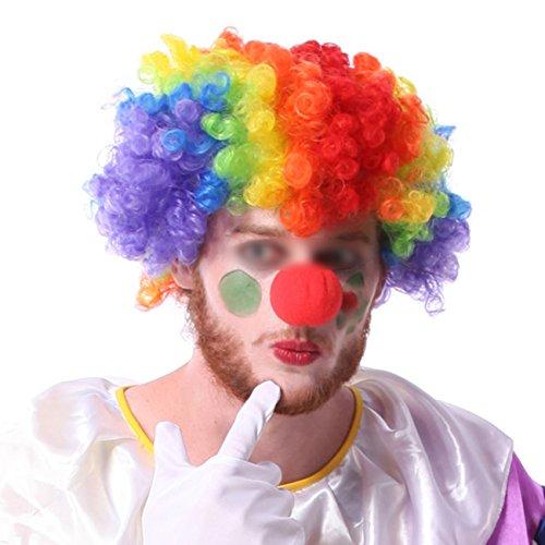 Haar Kostüm Lockiges Halloween - THEE Clown Perücke Bunt Lockig Haar mit Nase für Karneval Cosplay Halloween Fasching Fastnacht Kostüm Party