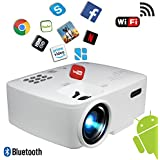 """Projector, Smart Android WiFi Bluetooth Video Beam, By BeVision, 220 ANSI Lumen 180"""" Max For Movie Games, Quiet Fan, Built-in Speaker With HDMI VGA USB AV Ports"""