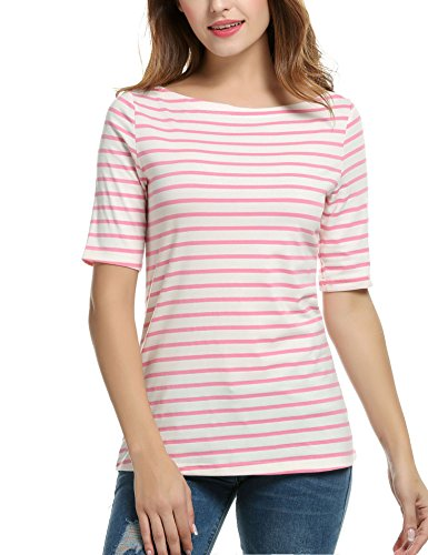 Womens V-neck Tee (Meaneor Women's V-neck Casual Short Sleeve T-shirt Blouse Tees Tops, Pink Streifen, EU 42(Herstellergröße: XL))