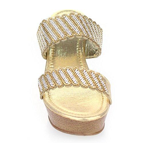 Aarz Femmes Ladies Soirée Casual Comfort Slip-on talon compensé Diamante Wedding Party Sandale Chaussures Taille (Gold, Noir, Argent) Or