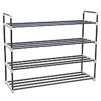 Songmics 4 Tiers Shoe Rack Storage Shelves Hold up to 20 Pairs of Shoes 92 x 30 x 74 cm (W x D x H) Grey LSA14G