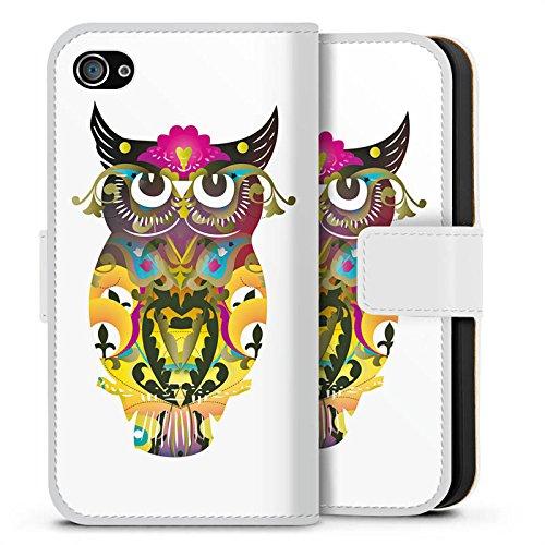 Apple iPhone X Silikon Hülle Case Schutzhülle Decorative Owl Eule Muster Sideflip Tasche weiß