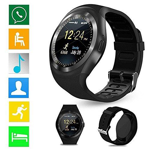 en Smart Watch Phone Bluetooth Wasserdicht mit SIM TF Kartenschlitz Schrittzähler Schlaf Monitor Fernbedienung Benachrichtigungen Facebook WHATSAPP Twitter kompatibel für Android iOS (Iphone 5 T-mobile Verwendet)