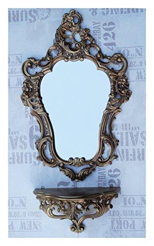 2-teiliges Set in Gold bestehend aus Wandspiegel + Wandkonsole Oval Barock Antik 50x76cm Flur Eingangsmöbel Möbel Konsole Ablage Spiegel + Wandregal