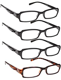 Reading Glasses - 4 Pack Standard Readers For Men And Women With Pocket Clip Black And Tortoise/+3.00