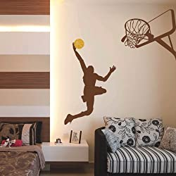 "Vinilo adhesivo de pared, Baloncesto Jugador de baloncesto pared adhesivo decorativo Cesta Jumping Sport pared mural Kid Room Decoración de pared, vinilo, Custom, 59""x64"""