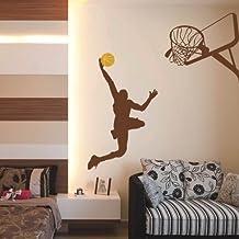 """Baloncesto de vinilo etiqueta de la pared basquetbolista del arte de la pared de la decoración de la pared diseño Mural de deporte de salto de los niños decoración de la pared, vinilo, Custom, 59""""x64"""""""