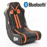 Wohnling Soundchair Ninja in Schwarz Orange mit Bluetooth | Musiksessel mit eingebauten Lautsprechern | Multimediasessel für Gamer | 2.1 Soundsystem - Subwoofer | Music Gaming Sessel Rocker Chair