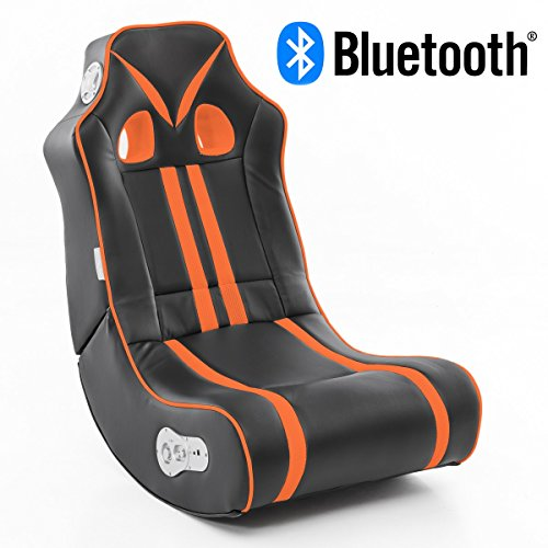 WOHNLING® Soundchair NINJA in Schwarz Orange mit Bluetooth | Musiksessel mit eingebauten Lautsprechern | Multimediasessel für Gamer | 2.1 Soundsystem - Subwoofer | Music Gaming Sessel Rocker Chair