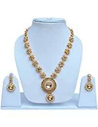 Lucky Jewellery Floral Design Golden And White Color Gold Polish Necklace Set For Girls & Women