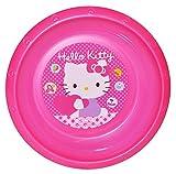Suppenteller / Suppenschüssel / Müslischale - Kinderteller ' Hello Kitty ' - aus Kunststoff / Plastikteller Plastik - Geschirr für Kinder - Mädchen - Speiseteller - Katze - Kätzchen / Punkte - Miezekatze