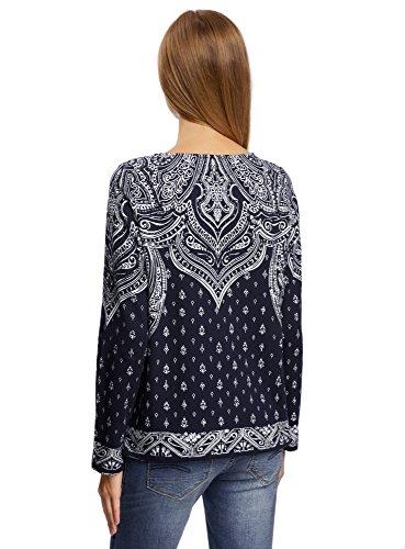 oodji Ultra Damen Sweatshirt mit Kombiniertem Druck Blau (7912E)