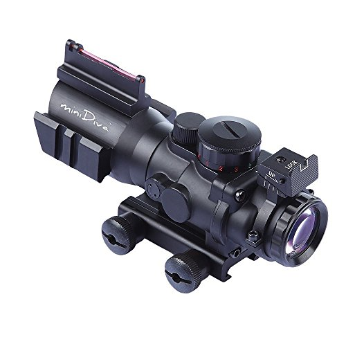 Minidiva® 4x32 mm Tactical Scope, mit Rot Gruen Blau 3 Helligkeit, Lichtwellenleiter Scope