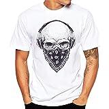 Herren T-Shirt Totenkopf Rundhals Casual Strassenmode Sport Spaß Motiv Tops T-Shirt (XL, Weiß)