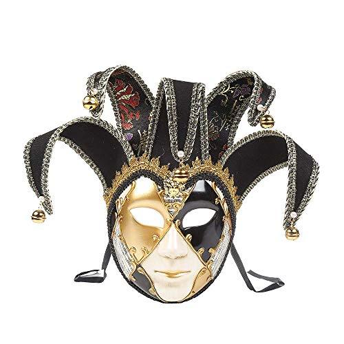 Miji Full Face Venetian Joker Masquerade Theater Mask Men and Women Mardi Gras Party Mask, Wall Decor Art Collection, (Black) ()