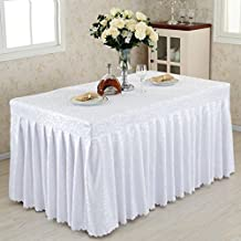Nappe européenne Fitted Table Skirt Cover Wedding Banquet With Top Topper Nappe -White Hook Flowers ( Couleur : White hook flowers , taille : 40*180*75CM )