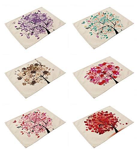 Tovagliette set 6, lino e cotone tessuto miscelato vintage lavabile creativo porpora grigio e rosso colorato albero della vita retro pittura ad olio per effetto stampato stoffa per tutta la famiglia