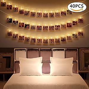 40 LED Foto Clips Lichterkette, Wanxida 4,2M Batteriebetriebene Warmweiß 2  Lichtmodus Dekoration Für
