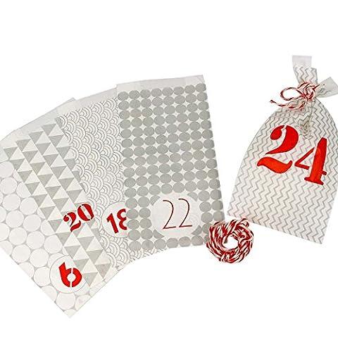Sinnwert Adventskalender-Tüten 24 Stk. grau/rot mit rot/weißer Kordel