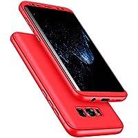 SainCat Funda Galaxy S8, 360 Grados Cobertura para Ambas Caras Carcasa 3 en 1 Ultra-Delgado PC Cubierta Funda Bumper Case PC Funda Case para Samsung S8-Rojo