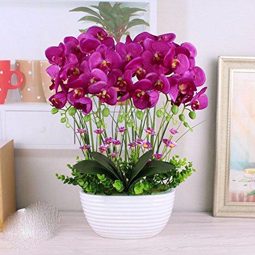 SYHOME Fake artificiales flores Bouquets Decoración Hogar establecido en púrpura,una orquídea