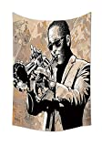 Jazz Music Decor Tapestry Wall Hanging Grunge Style Illustration of an African Musician with Sunglasses Playing Trumpet Bedroom Living Room Dorm Decor Beige Black