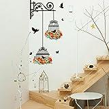 Dragon868 3D Adesivi Murali Gabbia per Uccelli Fiori e Farfalle Fai da Te Adesivi Murali Cameretta Cucina Salotto Home Decor (Rosso)