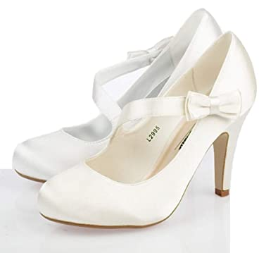 LADIES WEDDING SHOES WOMENS HIGH HEELS FANCY SATIN BRIDAL WHITE IVORY COURT SIZE 3