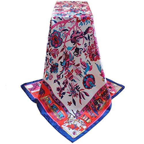 Transer ® Femelle Écharpes,Nouveaux Section longue Fashion Style femmes Satin Bohemia Écharpe de foulards Taille: 90 * 90 cm Bleu