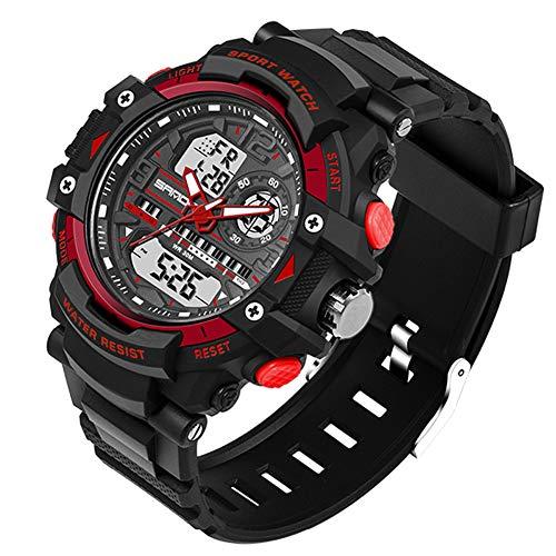 Multifunktions Outdoor Sport Uhren Mit Schwarzem Silikonband/LED Licht/Weckerfunktion /Chronograph(Red)