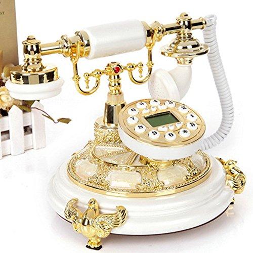 Motesuvar Massivholz Antiken Telefon, Zu Hause, Hochwertigen Europäischen Stil Festnetz - Alte Telefon, Telefon Im Büro.,Im Gegenlicht Freisprech - Luxus - Tuch Seil - Doppel - Bell - Tief Kaffee -