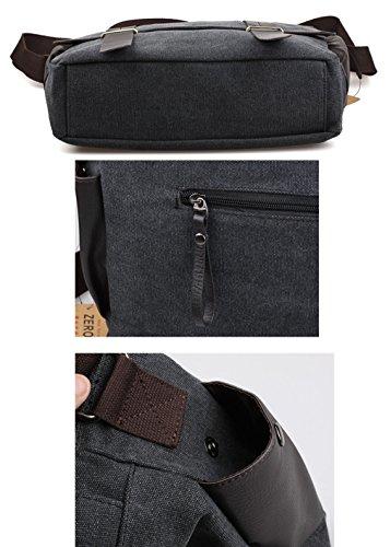 Tibes Leinwand Umhängetasche Arbeit Messenger Bag Schule Umhängetasche Tasche für Männer Khaki