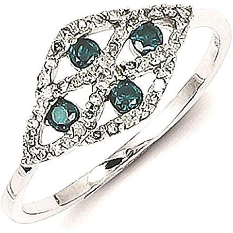 Sterling Silver w / blu e bianco diamante anello operato - Anello Operato