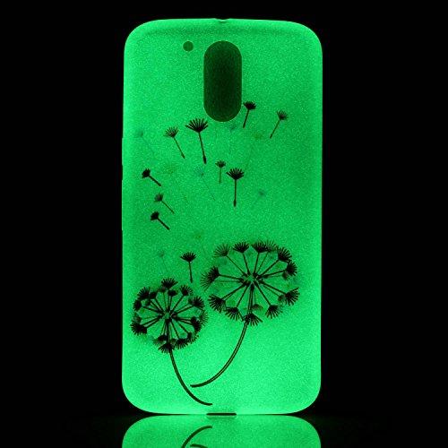 CaseHome Motorola Moto G4 Play Luminous Hülle (Mit Frie Displayschutzfolie) Leuchtende Silikone Rückhülle Für iPhone 6 6s Plus 5.5 Zoll Zoll Silikon Etui Handy Hülle Weiche Transparente Luminous TPU B Bunte Löwenzahn