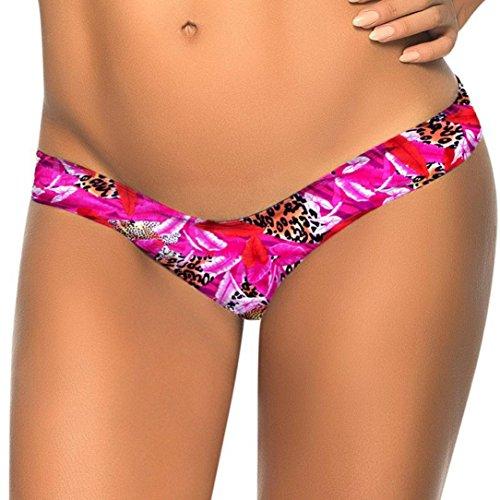 feiXIANG  Nuoto Tronchi, Costume da Bagno Spiaggia da Donna, Donne Brasiliane Bikini Bottom Thong Balneazione Costumi da Bagno Spiaggia Bikini Stampa Brasiliano Fondo Perizoma da Bagno (Rosa B, S)