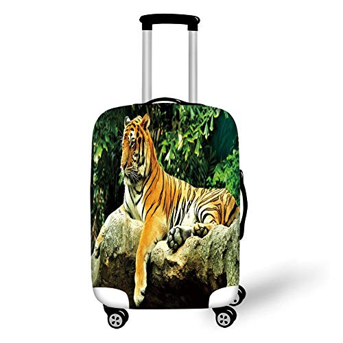 Tiger Spandex Rock (Travel Luggage Cover Suitcase Protector,Tiger,Resting Feline in The Forest on a Large Rock Sublime Carnivore Beast Beautiful Nature,Multicolor,for Travel,L)