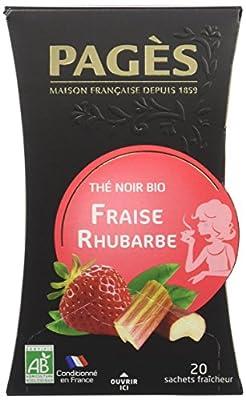 Pagès Thé Noir Fraise Rhubarbe Bio 20 sachets - Lot de 2