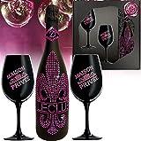 Sekt Geschenk PINK Le Club rose-pinke Kristalle und 2 schwarze Champagner Gläser für Frau beste Freundin Geburtstag Weihnachten Geschenk
