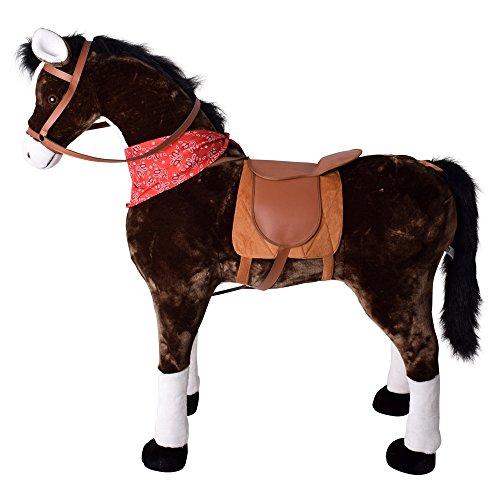 TE-Trend Pferd Reitpferd mit Sattel Zaumzeug und Tuch 120cm Länge Braun Weiße Fesseln