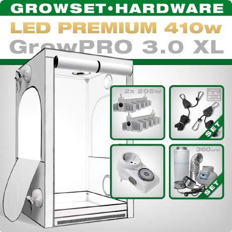GrowPRO LED Growbox Komplettset mit SANlight Q5W Gen2, Growbox 3.0 120x120x200cm + Grow Abluftset 250 PRO