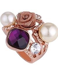 Anillos de cóctel con la perla Cubic Zirconia 18K Rose Oro Plated Mujer Moda Joyería Único Flor Declaración Regalo Anillo
