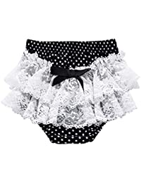 Ding-dong Bébé Enfant Fille Eté Pois Dentelle Nœud à Deux Boucles Culotte Bloomer Couvre-couche