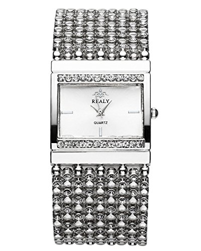 JSDDE Uhren,Elegant Damen Armbanduhr mit Strass Damenuhr Metall-Band Armkette Armreif Uhr Analog Quarzuhr,Silber