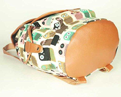 Damen Mädchen Casual Vintage Canvas Segeltuch Taschen Reisetaschen Schultaschen Rucksack Grau Diamant Beige Eule