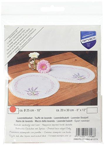 Vervaco Tischdecke lavendel bedruckte Deckchen mit Spitze und Garn, Baumwolle, Mehrfarbig, 25.0 x 25 x 0.30000000000000004 cm, 1 Einheiten (Garn, Spitze Baumwolle,)